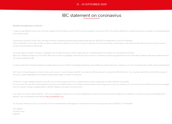IBC 2020兑现承诺了,9月将在线上举办